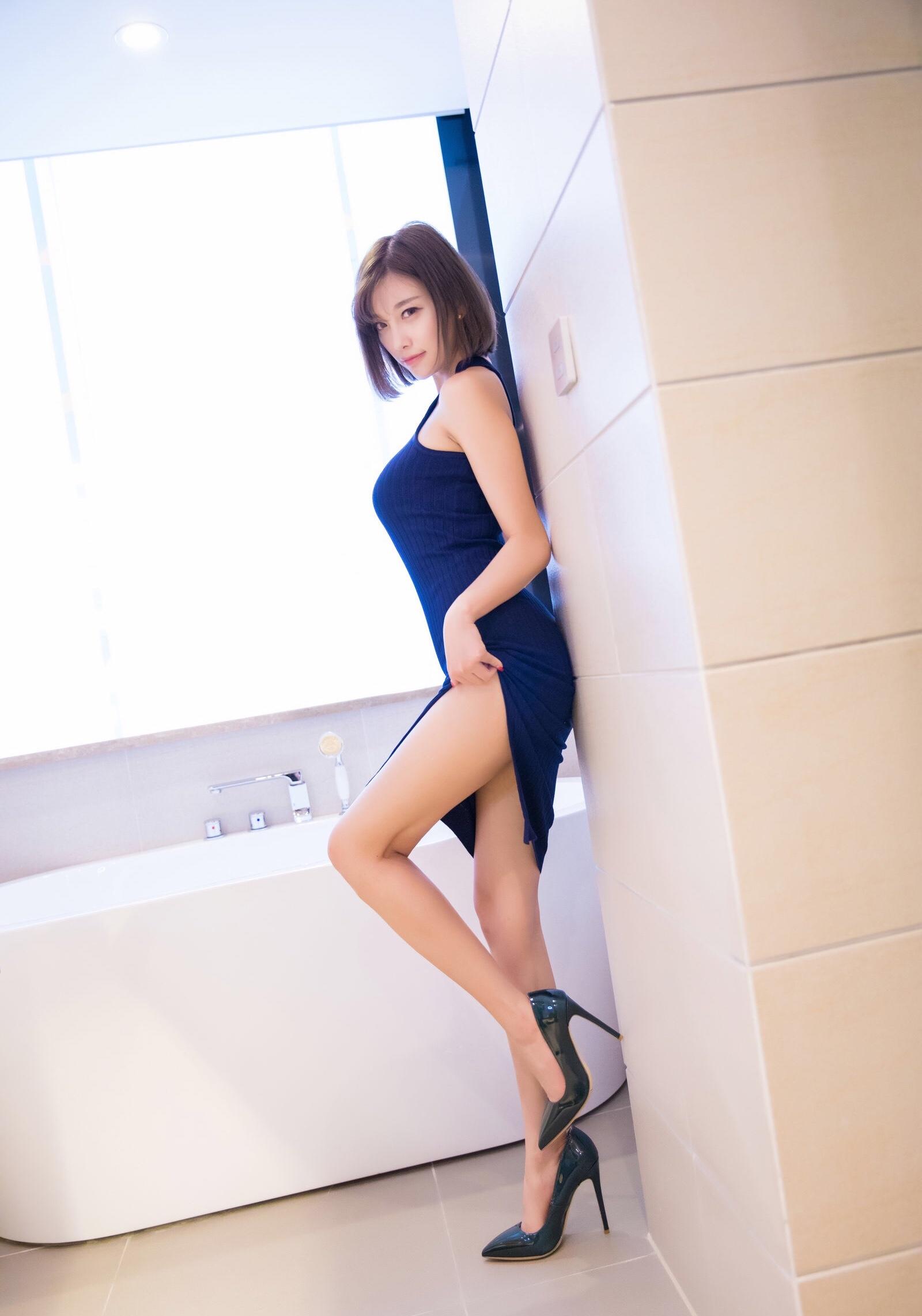青いワンピースがセクシーなsugar杨晨晨 3